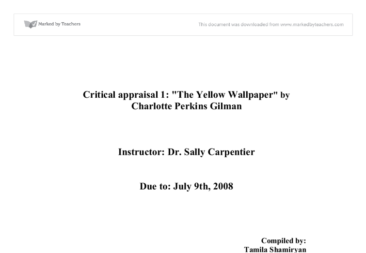 the yellow wallpaper literary criticism