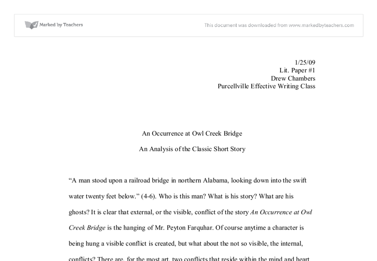 an occurence at owl creek bridge university linguistics  document image preview