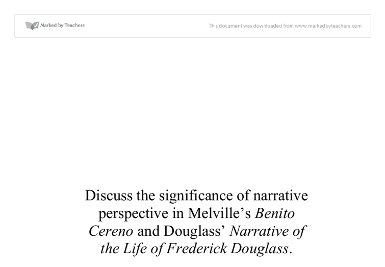 discuss the significance of narrative perspective in melvilles  document image preview