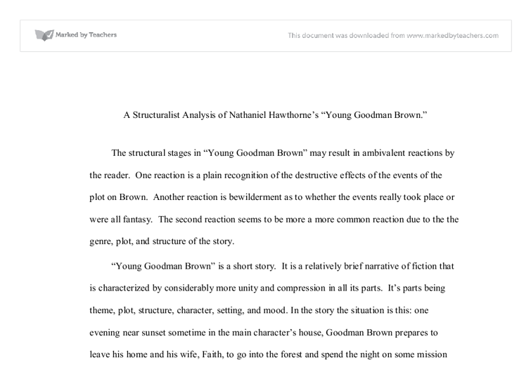 a structuralist analysis of nathaniel hawthornes young goodman  document image preview