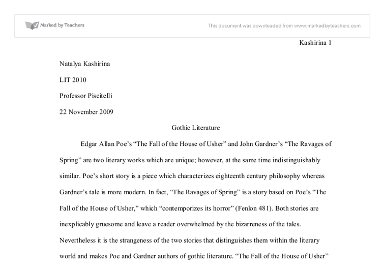 "essay fall house other poe ""the fall of the house of usher"" essay sample in edgar allen poe's ""the fall of the house of usher"" there is evidence that characterizes the story as gothic literature."