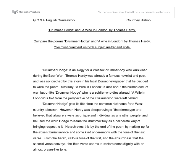drummer hodge essay Poetry 2015– sample essays (drummer hodge and channel firing, for example) but others, though written at the time, have a more general relevance.