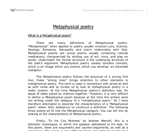 what is a metaphysical poem university linguistics classics  document image preview