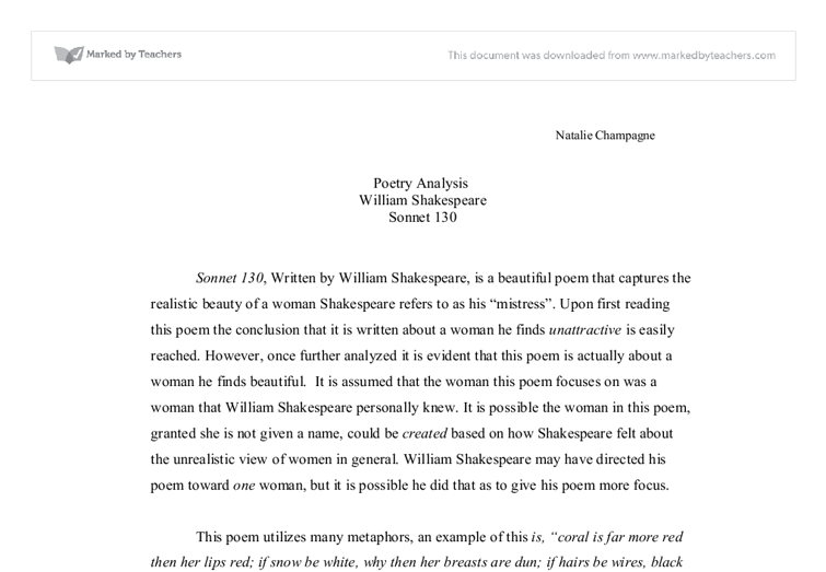 sonnet 130 analysis essay Sonnet 130 by william shakespeare essay sonnet 130 by william shakespeare and over other 29,000+ free term papers, essays and research papers examples are available on the website.