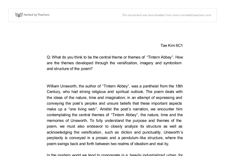tintern abbey wordsworth essay
