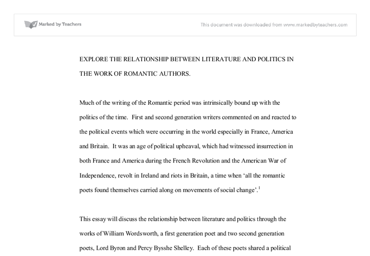 explore the relationship between literature and politics in the document image preview