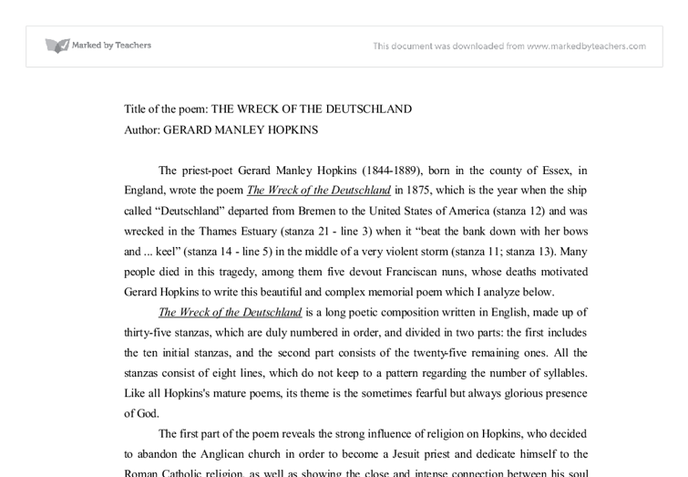 Gerard manley hopkins essay leaving cert
