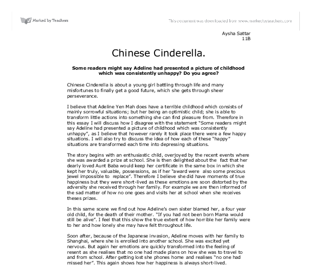 chinese cinderella essay family relationships