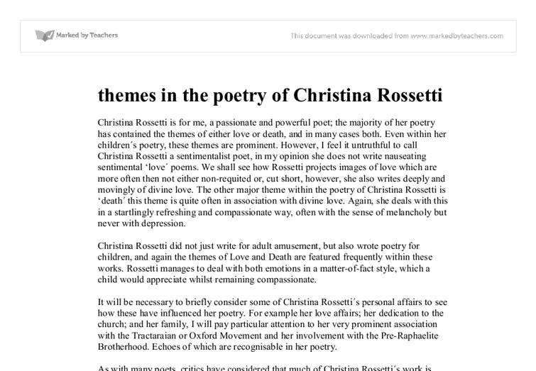 "remember by christina rossetti essay Article shared by ""echo"" by christina georgina rossetti is a beautifully written love poemthis poem describes the everlasting pain and sadness of a lover the poetess has beautifully portrayed a lover's yearning for anything from his or her dead lover."