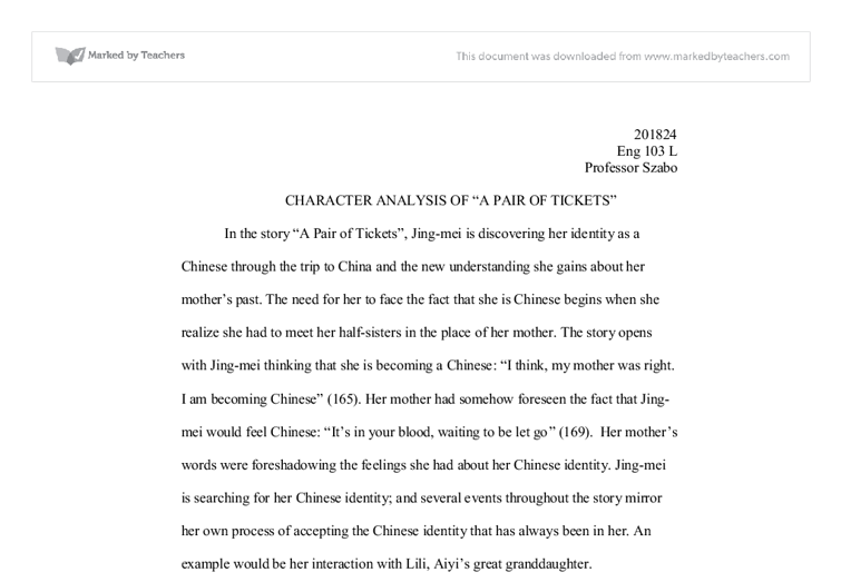 a character analysis of the story joy luck club About the joy luck club character list summary and analysis tan's women in the joy luck club minor characters.