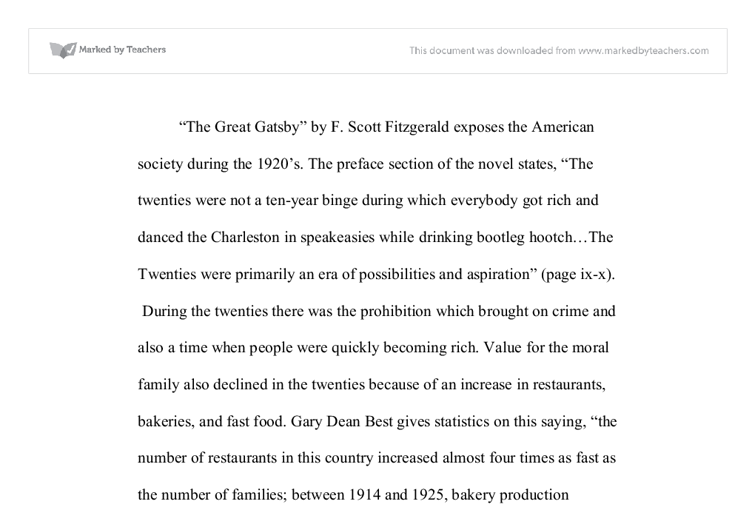 The great gatsby corruption essay