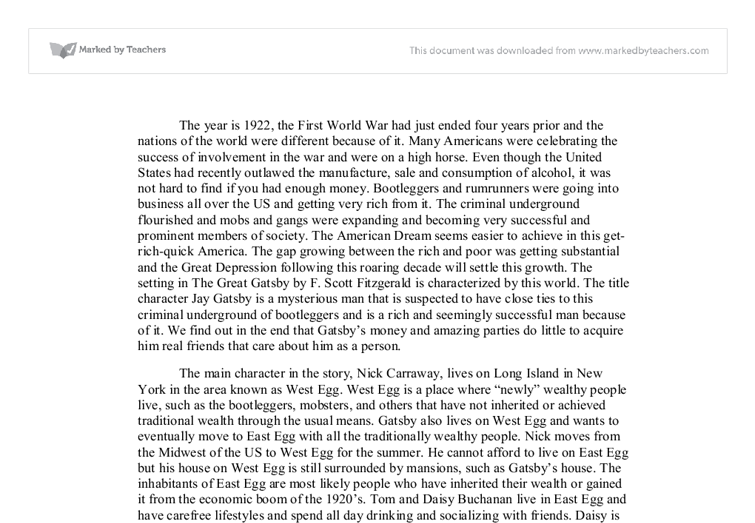 The Great Gatsby Essay | The Fall of the American Dream