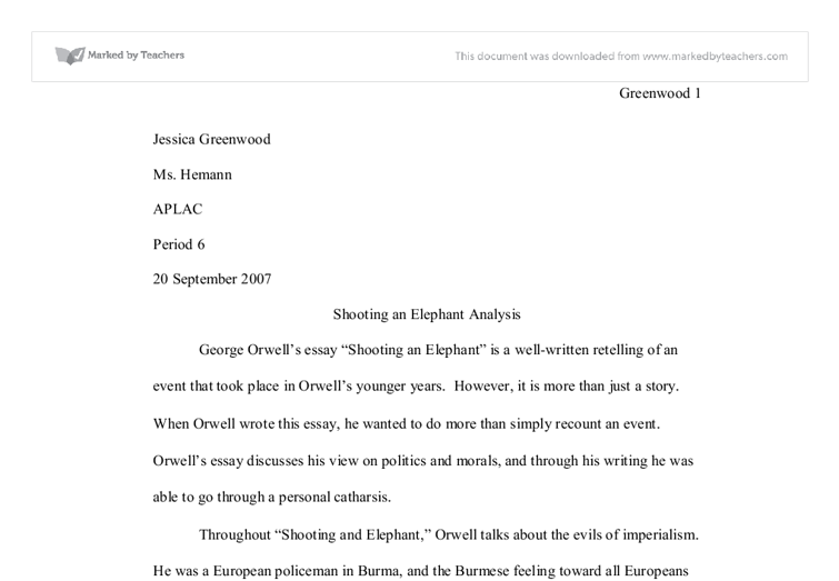 essay elephant the book of negros essay a journey of escape in the  shooting an elephant analysis university linguistics classics document image preview