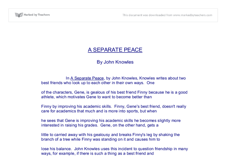 the trials of friendship in a separate peace by john knowles