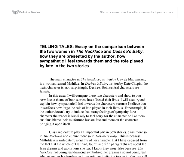 essay desirees baby kate chopin Desiree's baby has been set in the days before the abolition of analysis of desirees baby by kate chopin english literature essay print (chopin) her.