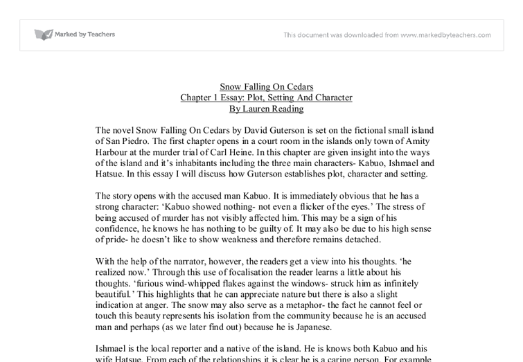 a plot overview of david gutersons snow falling on cedars Our reading guide for snow falling on cedars by david guterson includes a book club discussion guide, book review, plot summary-synopsis and author bio.
