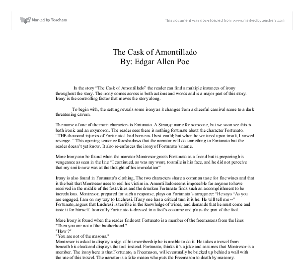 Essay on the cask of amontillado