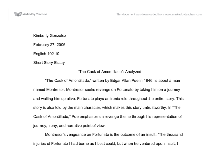 an analysis of the main themes of the cask of amontillado a short story by edgar allan poe What details of the setting contribute to the horror of the story the cask of  amontillado the cask of amontillado is a short story by edgar allan poe.