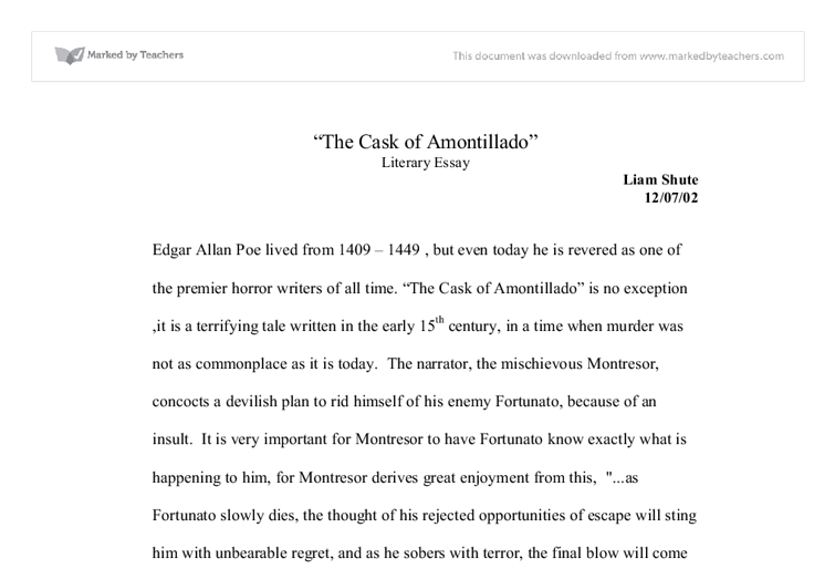 a narrating of a revenge plot in the cask of amontillado by edgar allan poe Read the short story the cask of amontillado, by edgar allan poe consider how the author uses literary techniques to create mood - 7563826.