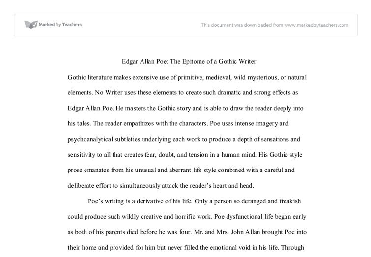 Free essays on edgar allan poe