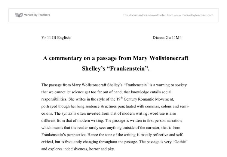 A Commentary On A Passage From Mary Wollstonecraft Shelleys