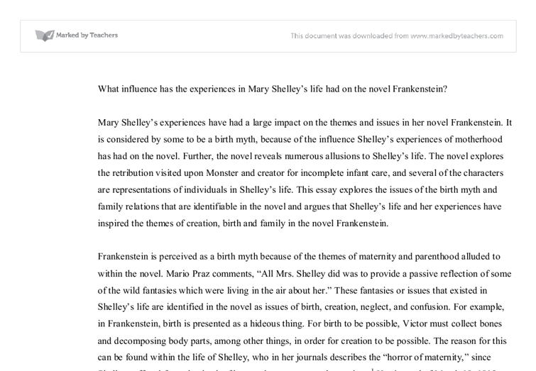 frankenstein reflecting mary shelleys life experiences essay Mary shelley's frankenstein essay mary's life also consisted of a sad ending mary shelley's frankenstein mary shelleys.