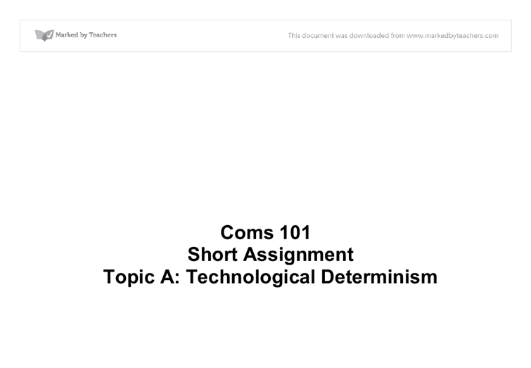 essays on technological determinism