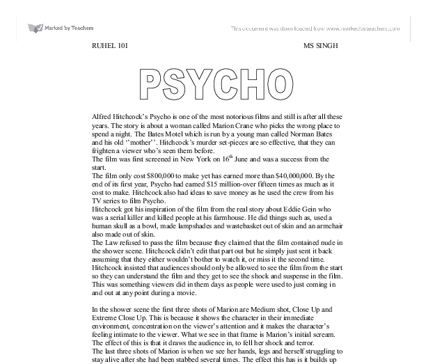 an analysis of the opening sequence in psycho by alfred hitchcock