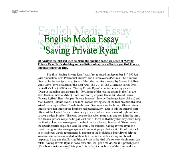 saving private ryan essay questions Saving private ryan essays: over 180,000 saving private ryan essays, saving private ryan term papers, saving private ryan research paper, book reports 184 990 essays, term and research papers available for unlimited access.