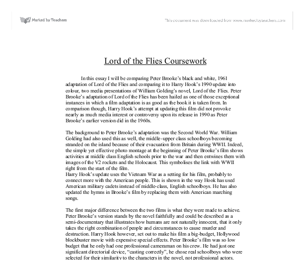 lord of the flies essay hook Lord of the flies - sample essay | home of the brave the novel is about a group of boys who survive a plane crash during the blitzkrieg lord of the flies.