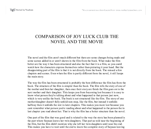 the joy luck club essay questions My interpretation of the joy luck club children, as they become adults, become more appreciative of their parents in the joy luck club, the attitudes of four daughters toward their mothers change as the girls mature and come to realize that their mothers aren't so different after all.
