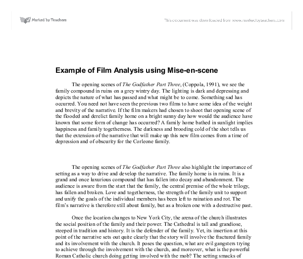 analysing a movie essay From notes to essay: writing a film analysis (from a short guide to writing about film) i prewriting a if you have taken good notes, you have.