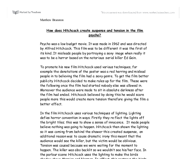 create suspense and tension essay How does hitchock cock create tension and suspensein the film but full essay samples are available only how does hitchock cock create tension and suspense.