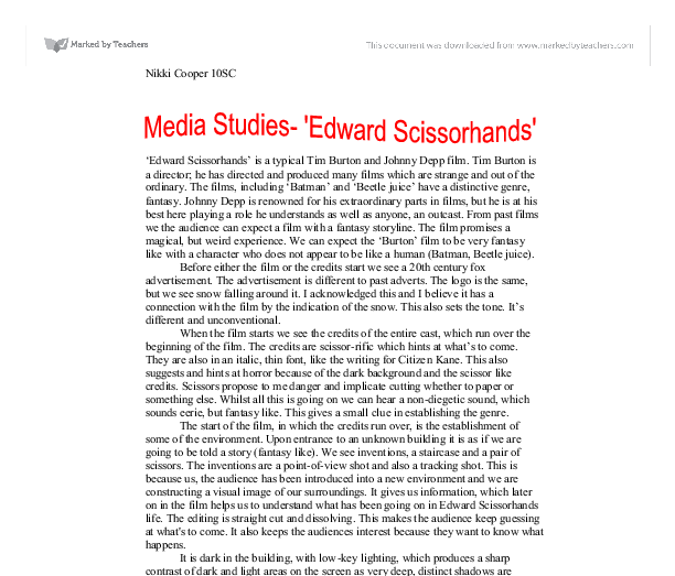 Report on Movie Review of Edward Scissorhands