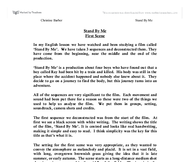 stand by me analysis essay View homework help - stand by me analysis from engl 1302 at tamu kingsville in my analysis of stand by me, i explored a great deal of perspectives throughout the film.