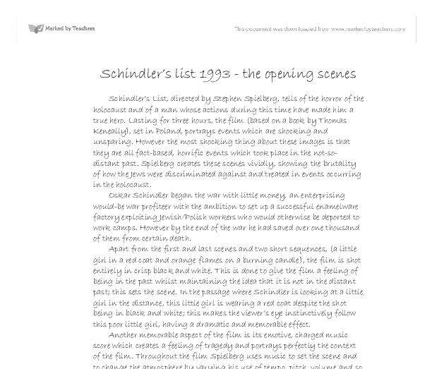 schindlers list film study essay Spielberg's hesitation actually stopped hollywood veteran billy wilder from making schindler's list his final film the director also told him to study the.