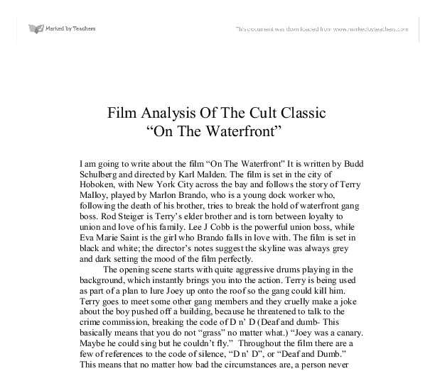 film analysis of the cult classic on the waterfront  document image preview