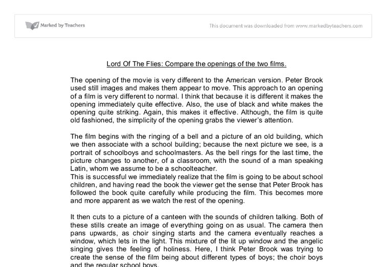 Lord of the flies comparative essay