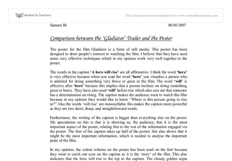 the gladiator trailer essay Read this essay on gladiator movie come browse our large digital warehouse of free sample essays get the knowledge you need in order to pass your classes and more.