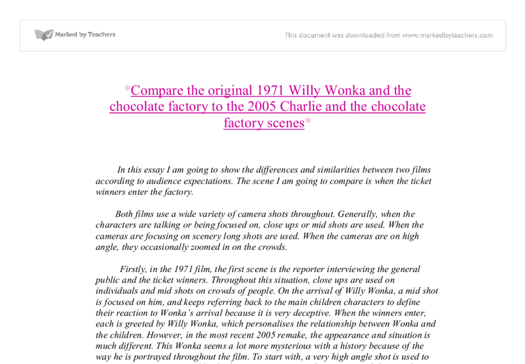 compare the original charlie and the chocolate factory and  document image preview