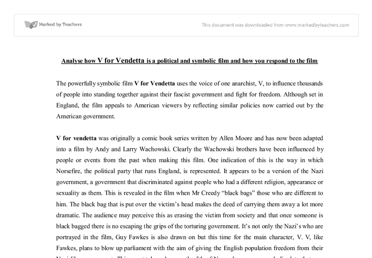 "Critical Film Analysis essay on the film: ""V for Vendetta"""