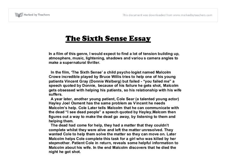 a movie analysis of the sixth sense by m night shayamalan The sixth sense essay examples a fast paced,horror movie experience in the sixth sense by m night shyamalan a movie analysis of the sixth sense by m night.