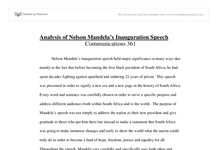 analysis of nelson mandela s inauguration speech university  document image preview