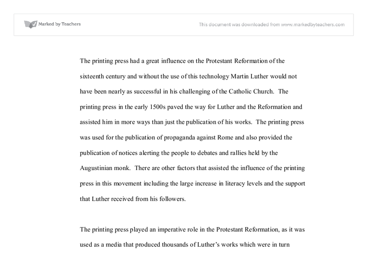 the printing press had a great influence on the protestant  document image preview