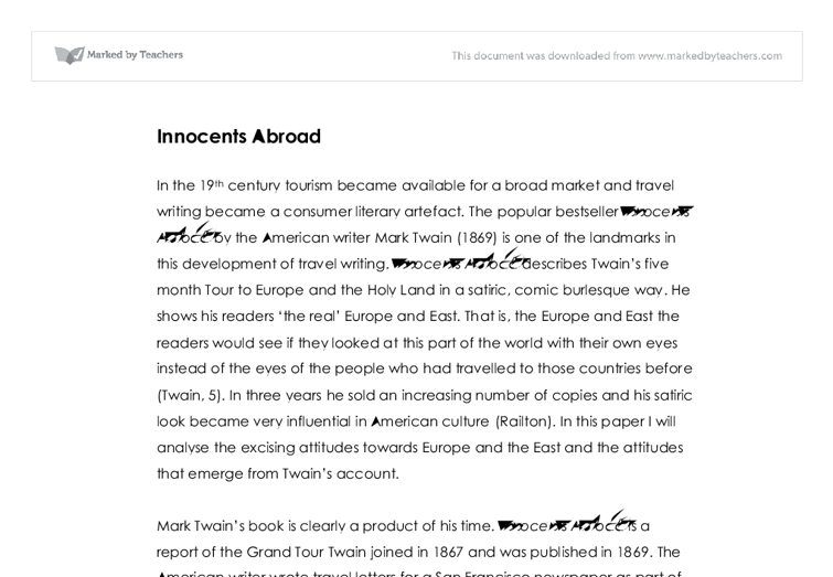 innocents abroad report essay The innocents abroad  report log in to add a comment advertisement  can anyone help me write an essay about the story twelve years a slave.