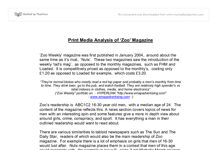 print media analysis of zoo magazine university media studies  document image preview