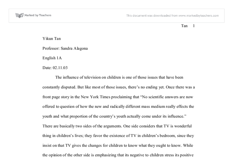 essay-influence of television on children