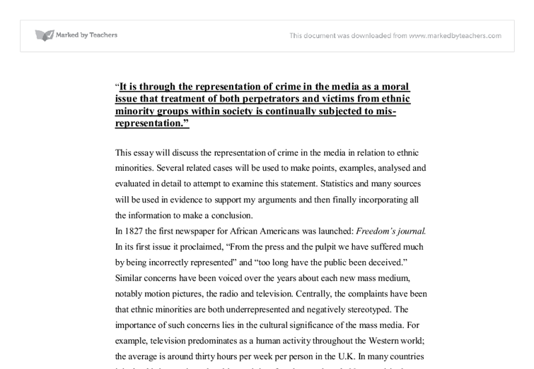 this essay will discuss the representation of crime in the media  document image preview