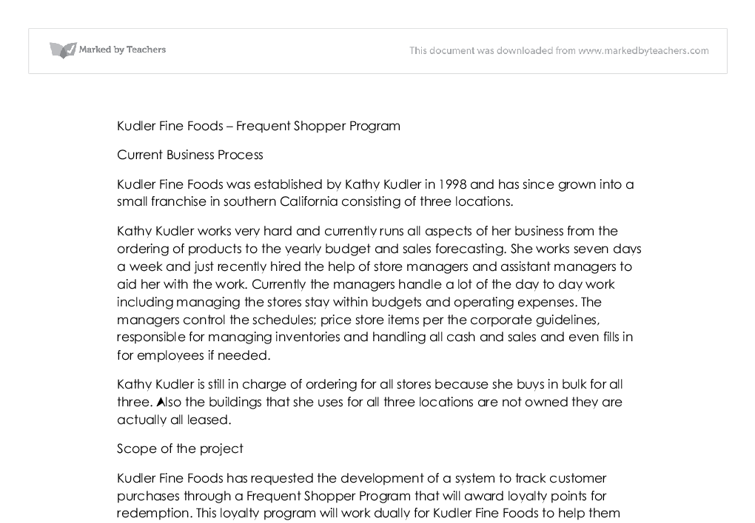 Marketing Case Study: Kudler Fine Foods
