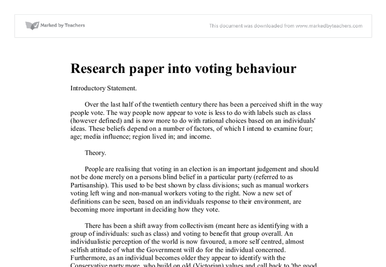 voting behaviour essay 1 differences in voting behavior i andreadis and th chadjipadelis abstract: this paper deals with voting behavior and how voters act differently when.